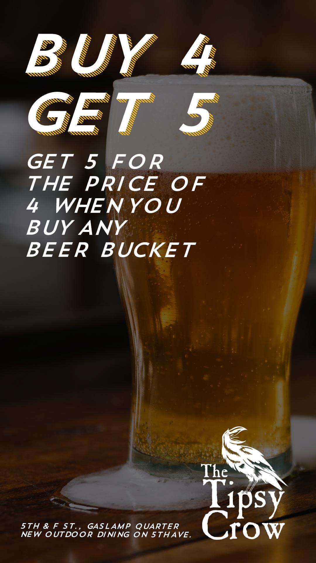 Buy 4 drinks, get 5 drink special